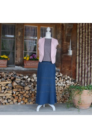 Tiered Vintage Denim Midi